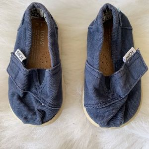 Toms Navy Blue Canvas Velcro 4T